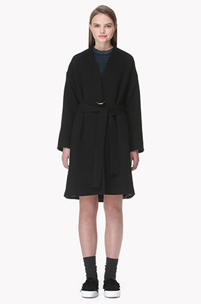 Knot brooch collarless lambs wool cashmere coat