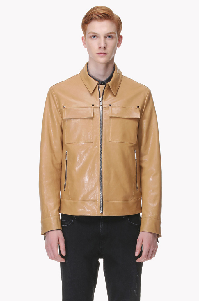 [ROCK STEADY] Lamb leather stued zip up jumper