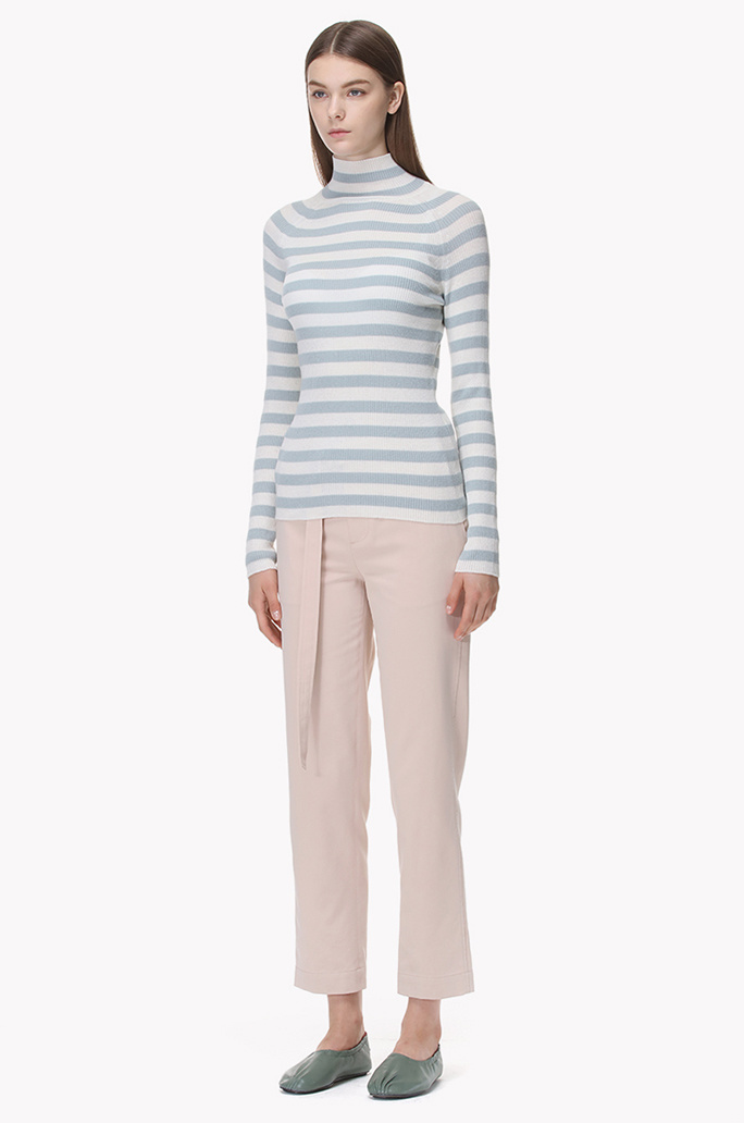 Striped high neck wool knit top