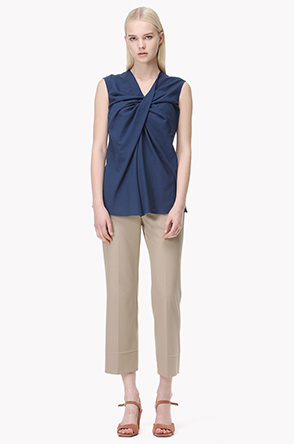 Tuck drape front sleeveless cotton top