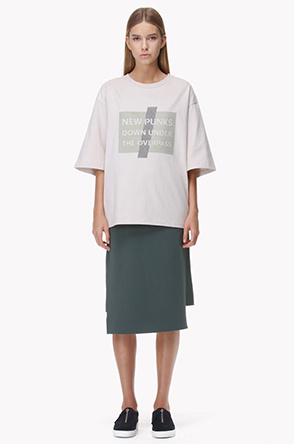 Suede colorblock oversized T shirt