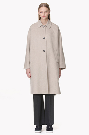 [SYSTEM0] Convertible collar wool cashmere blend coat