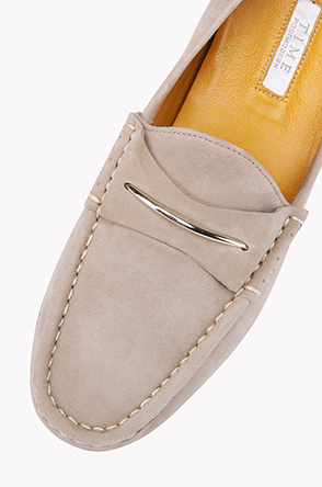 Metal detailed suede penny loafers