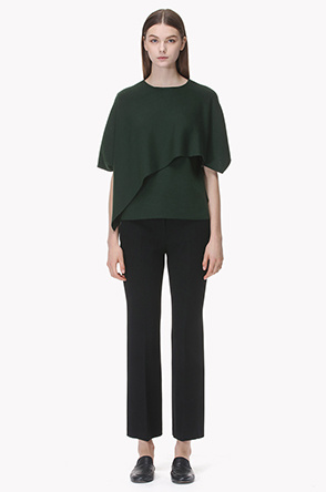 Drape front unbalanced knit top